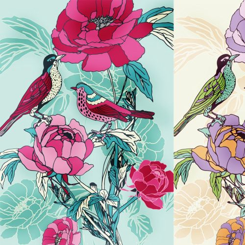 illustration of Birds on flowers