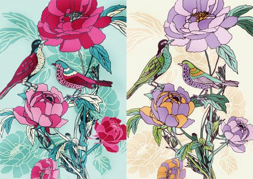 illustration of Birds on flowers