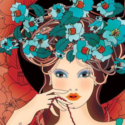 Floral girl vector portrait illustration