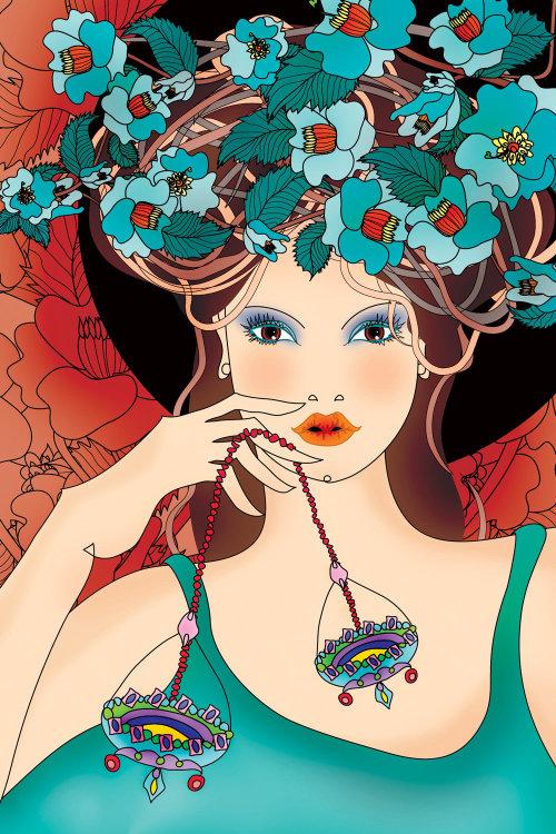 Illustration de portrait de vecteur de fille florale