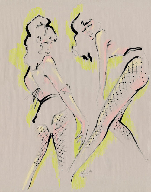 Live Drawing of Model Stockings