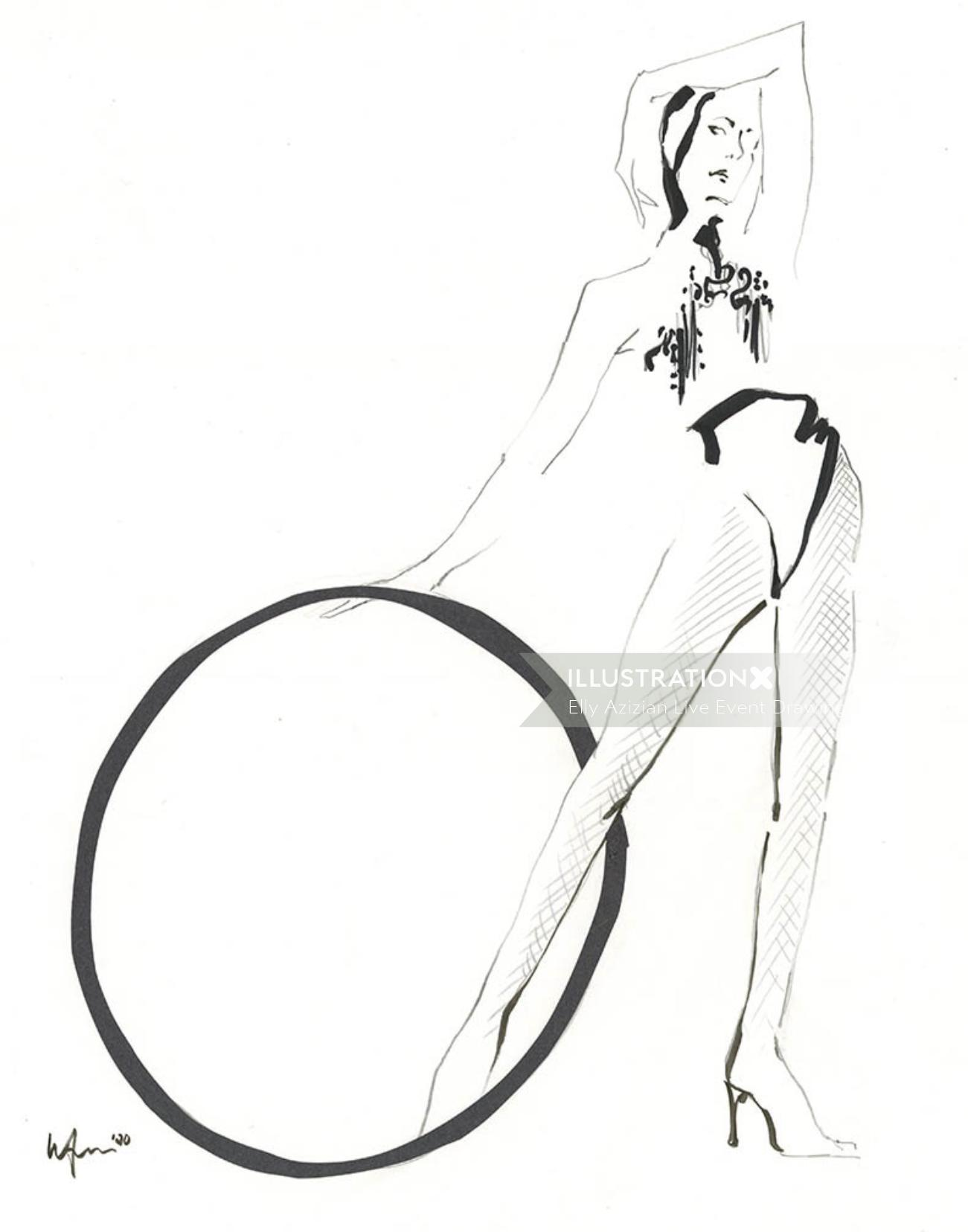 Live Drawring of Model with ring