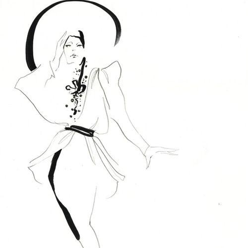 Live Drawing of Model line art