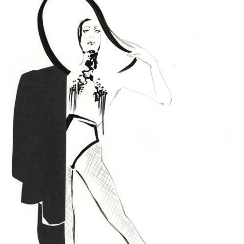 Live Drawing of Model half dressed