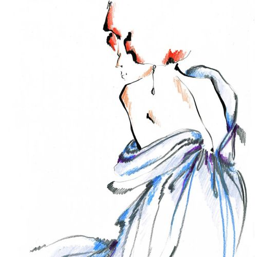 Live Drawing of Model in backless Dress