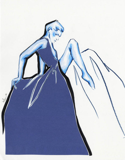 Live Drawing of model posing in long gown