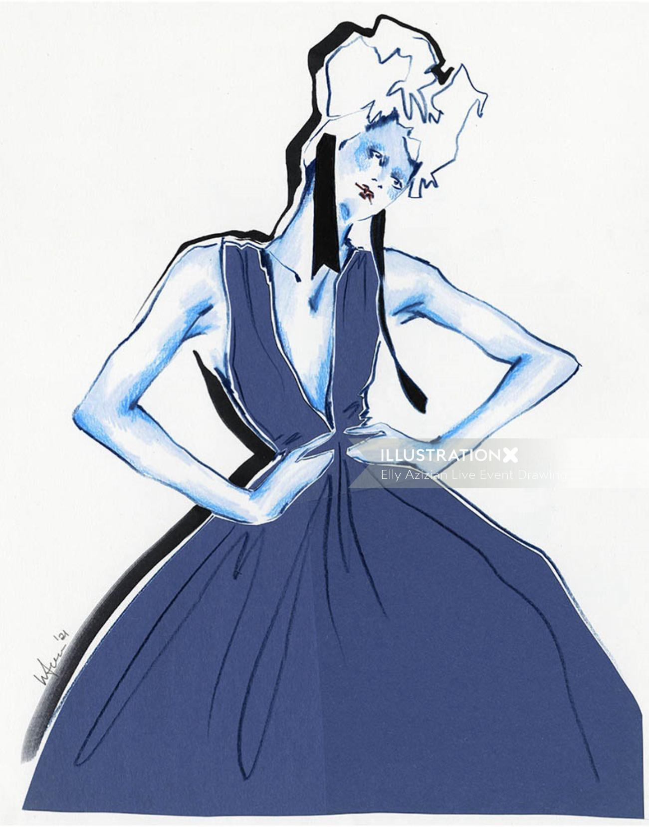 Live Drawing of Model with Long Gown