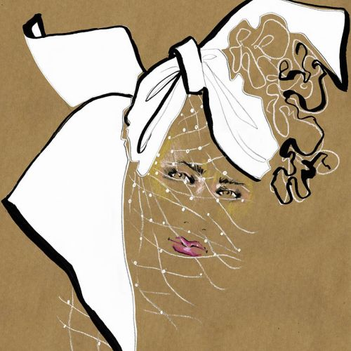Live Drawing of model with Netted face mask
