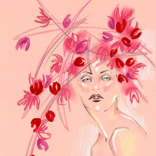 Live Drawing of model with floral hair