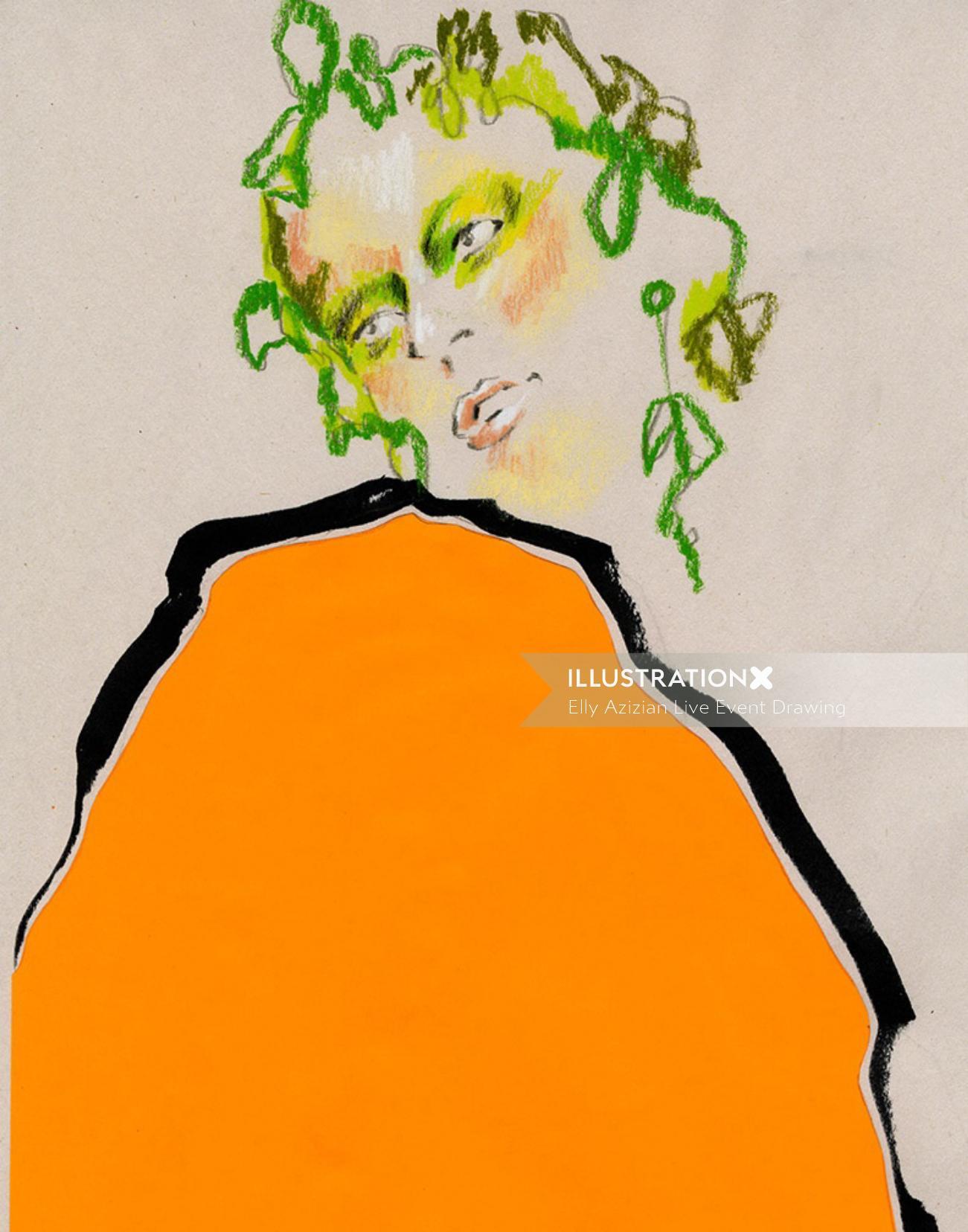 Live Drawing in Orange Dress