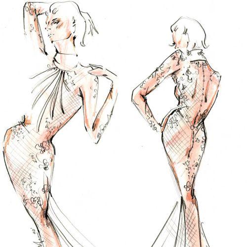 Live Drawing Stylish model dress