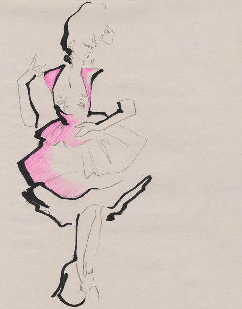 Live Drawing model pink dress