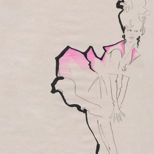 Live Drawing model lineart in pink