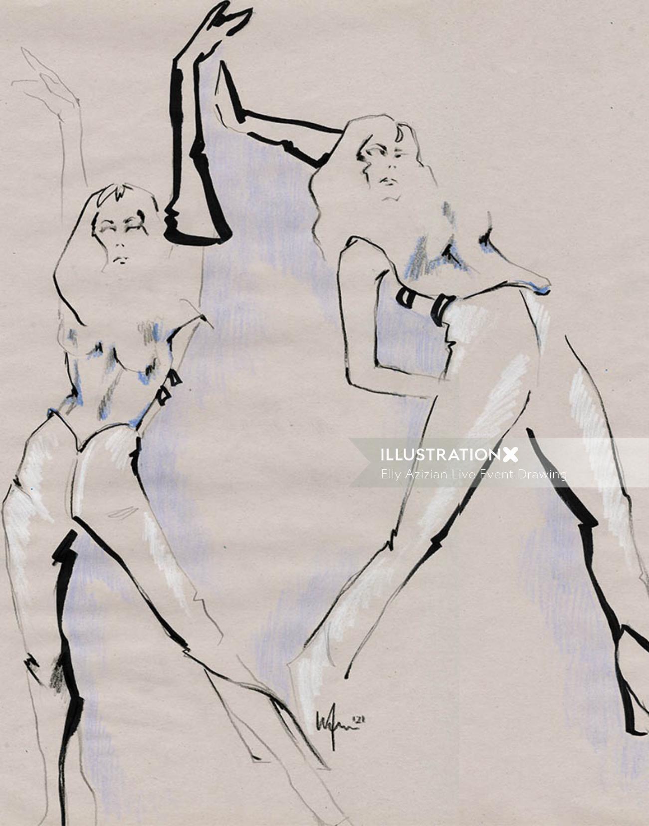 Live Drawing Models dancing