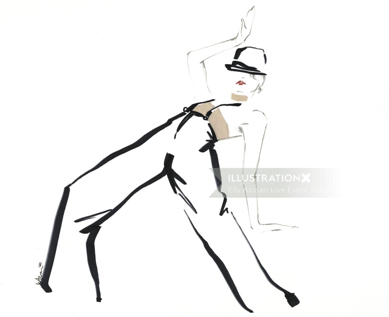 Live Drawing Model with pants