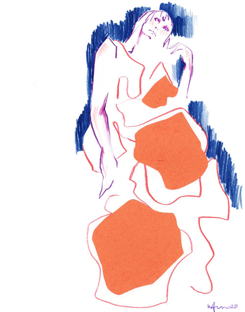 Live Drawing of Woman in orange