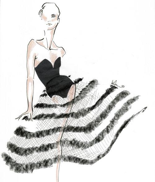 Live Drawing pattern skirt