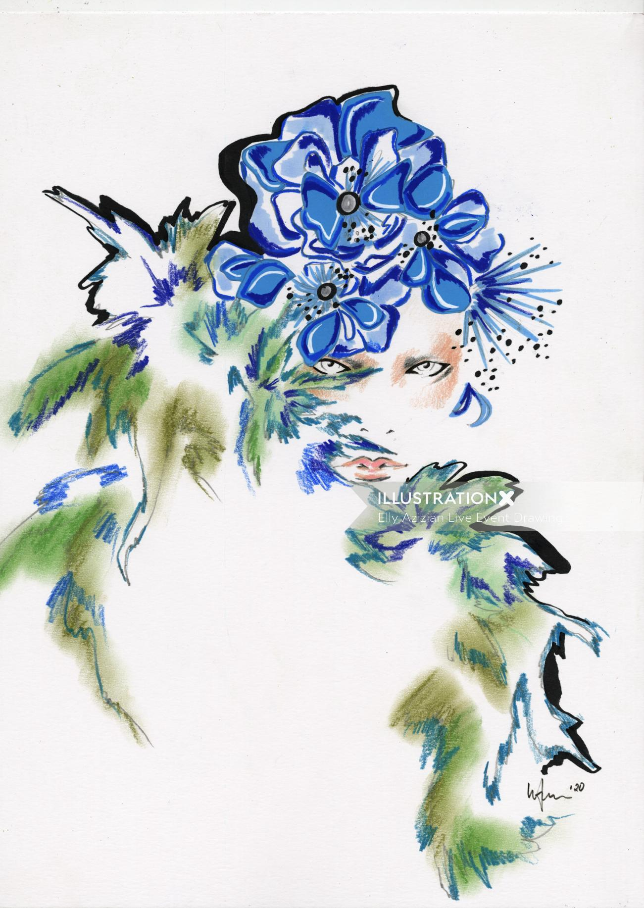 Live Drawing of blue flowers