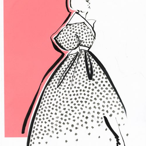 Live Drawing of women with dotted dress