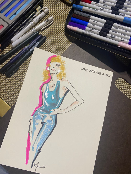 Live Drawing model in blue dress