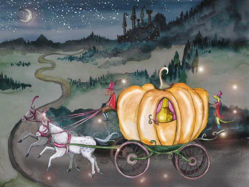 Peinture à l'aquarelle de la reine Horse Vehicle