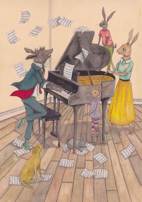 Illustration de musique de feuille de vol animal