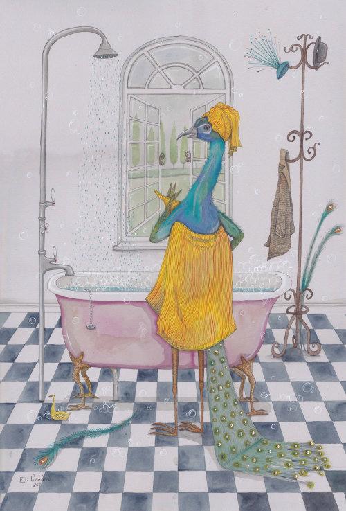 Illustration d'animaux de bain d'oiseaux