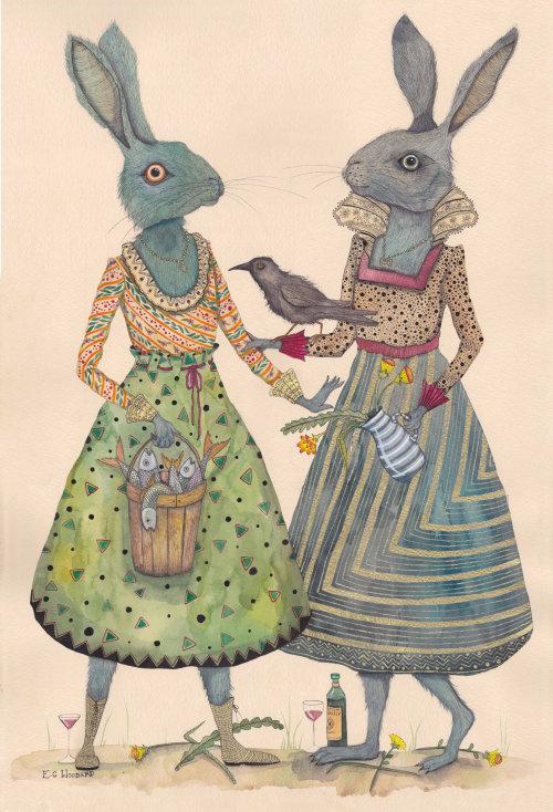 Animal illustration of rabbit sisters love
