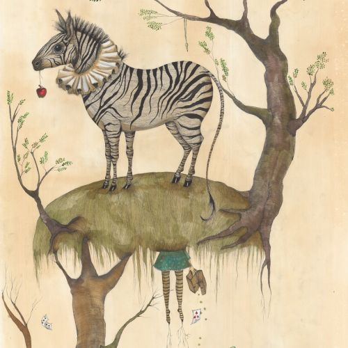 Zebra on tree illustration