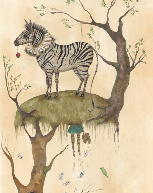 Zebra on tree illustration