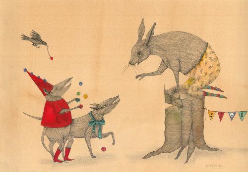 Aquarelle de souris et renard
