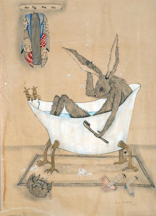 Illustration de livre pour enfants de souris dans la baignoire