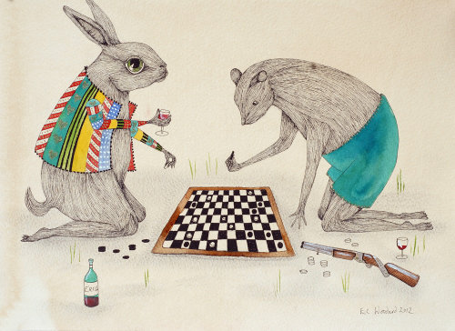 Rabbits playing chess illustration by Emily Carew Woodard