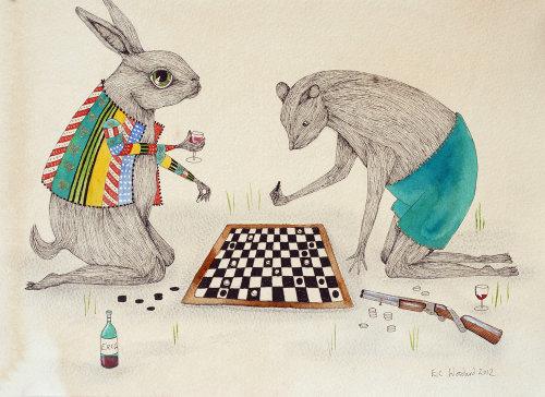 Coelhos jogando xadrez ilustração por Emily Carew Woodard