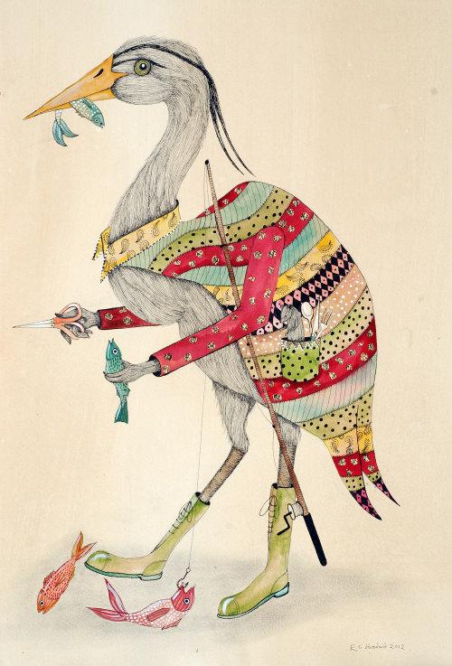 Ilustração de cisne comendo peixe por Emily Carew Woodard