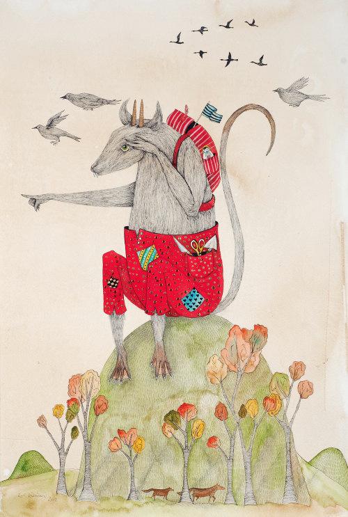 Illustration animale de la souris voyageuse
