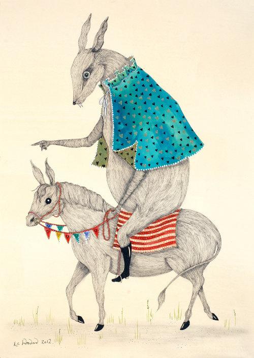 Illustration comique de la souris à cheval