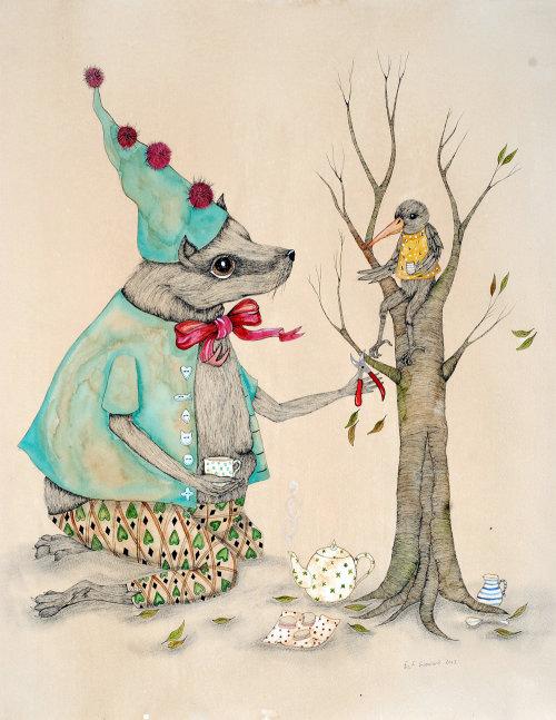 Illustration de thé buvant des animaux