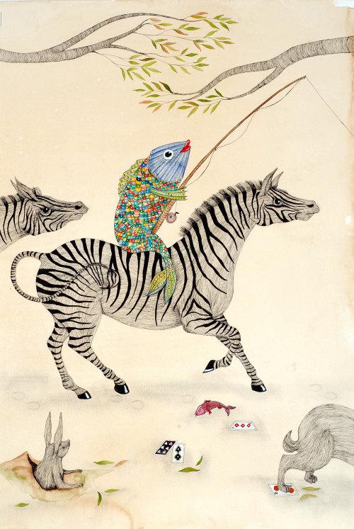 Équitation, sur, âne, animal, illustration