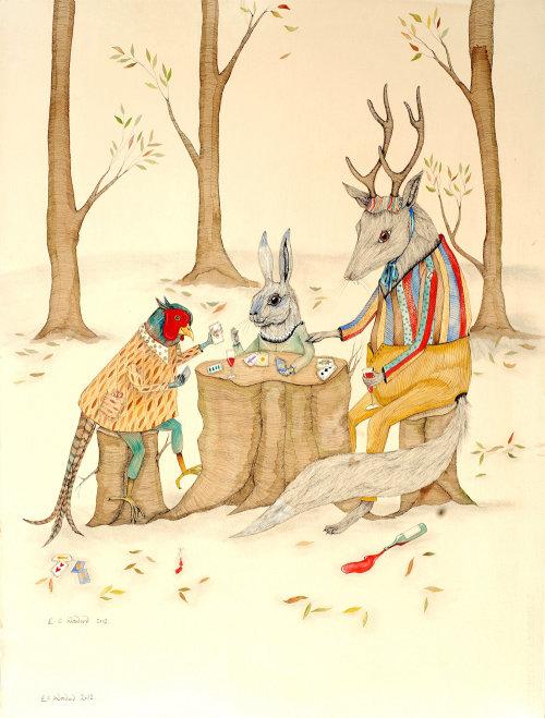 Illustration de cartes à jouer animaux
