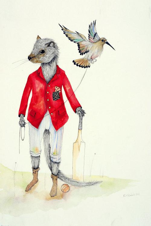 Illustration de la souris jouant au cricket