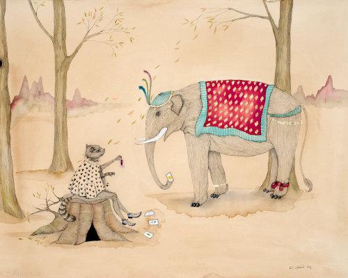 Uma ilustração de elefante e gato