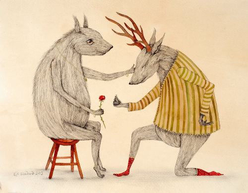 Character design of animal love proposing