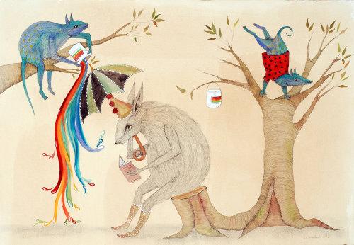 Rato sentado sob ilustração de guarda-chuva colorida de Emily Carew Woodard