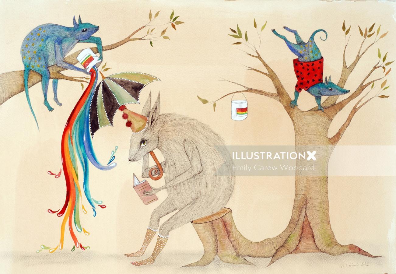 Mouse sitting under colorful umbrella illustration by Emily Carew Woodard