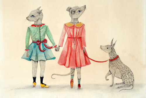 An illustration of girl mouse holding dog