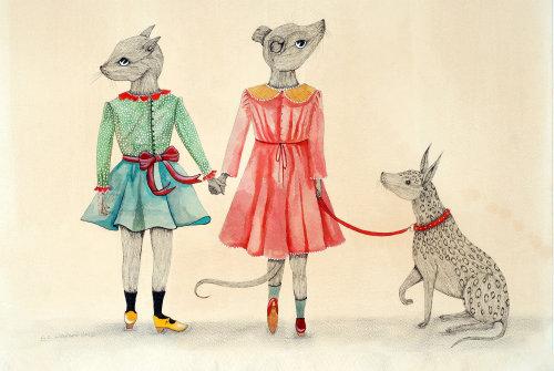 Uma ilustração do rato da menina que guarda o cão