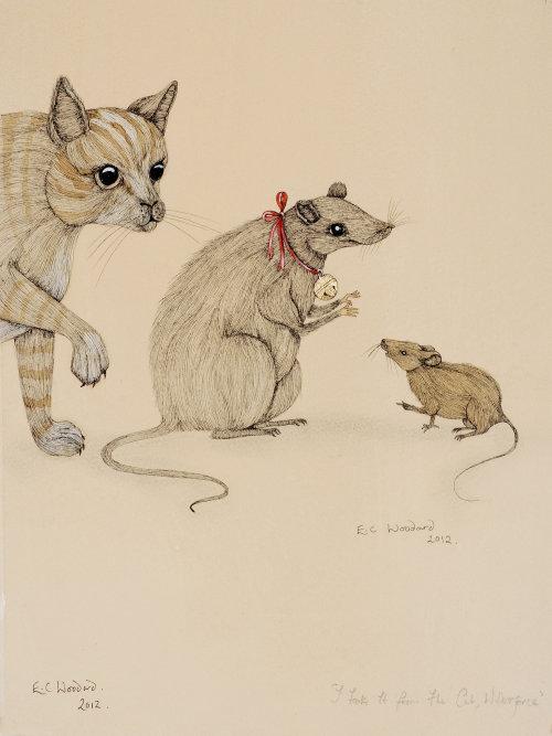 Peinture numérique de souris de chasse au chat