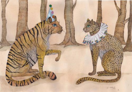 Uma ilustração de tigre e chita