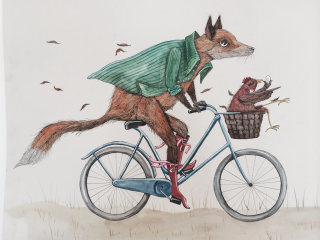 An illustration of fox riding bicycle